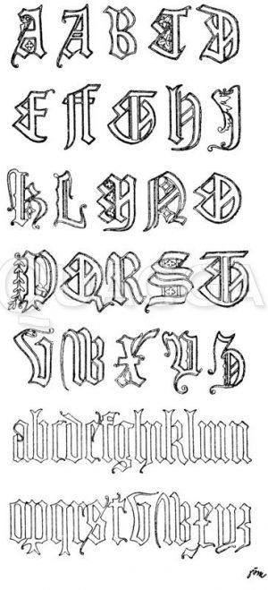 Gotische Fraktur: Gotisches Alphabet in Frakturschrift. Vom Grabmal Richard II. in der Westminster-Abtei. Um das Jahr 1400. (Shaw) Zeichnung/Illustration
