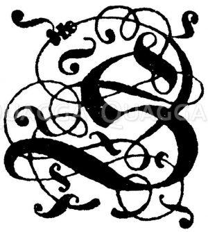 Gotische Fraktur: Gotische Fraktur: Buchstabe S. Initial aus dem 16. und 17. Jahrhundert. (Raguenet) Zeichnung/Illustration