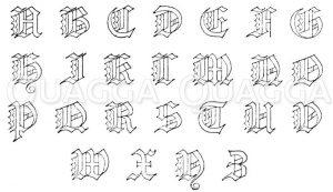 Frakturen 19. Jahrhundert: Gotisches Alphabet in Frakturschrift