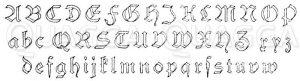 Frakturen 19. Jahrhundert: Alphabet in Frakturschrift