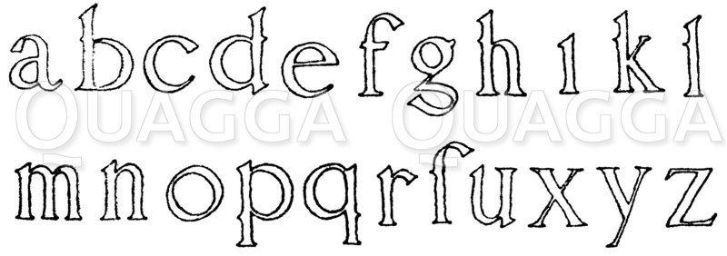 Lateinische Renaissanceschrift: Renaissancealphabet in kleiner lateinischer Schrift nach dem Schriftenbuch von Wolfgang Fugger