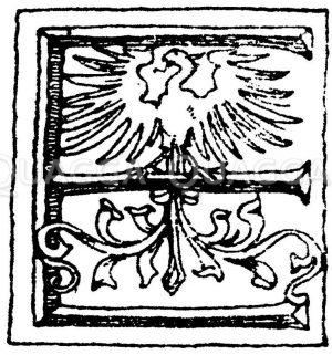 Lateinische Renaissanceschrift: Buchstabe E. Renaissanceinitial aus dem Jahr 1531. Zeichnung/Illustration