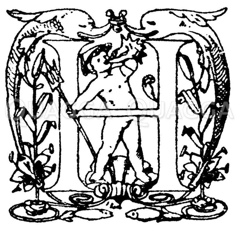 Lateinische Renaissanceschrift: Buchstabe H. Initial von P. Koch