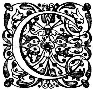 Lateinische Renaissanceschrift: Buchstabe C. Initial aus dem 17. Jahrhundert Elzevirsche Offizin. (Ysendyck) Zeichnung/Illustration