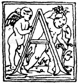 Lateinische Renaissanceschrift: Buchstabe A. Initial aus der Zeit ums Jahr 1500. Venezianische Renaissance. (Formenschatz) Zeichnung/Illustration