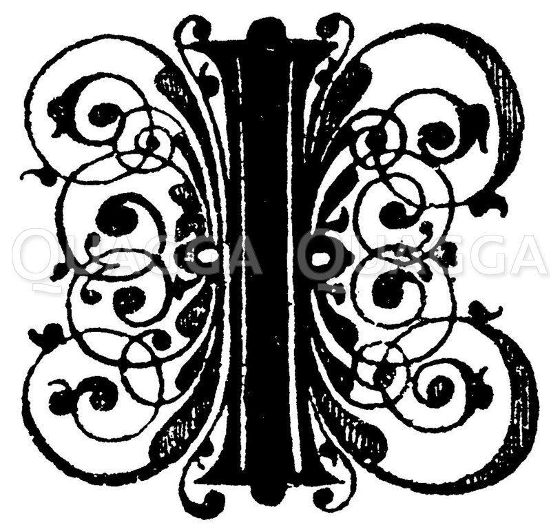 Lateinische Renaissanceschrift: Buchstabe I. Initial aus dem 17. Jahrhundert Schriftenbuch von Paul Fürst in Nürnberg. (L'art pour tous) Zeichnung/Illustration
