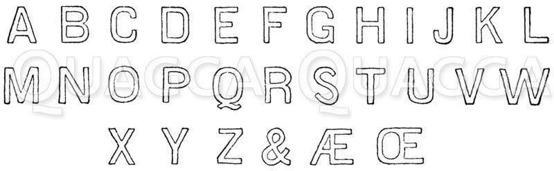 Lateinische Schrift: Alphabet in sog. Blockschrift oder Grotesk