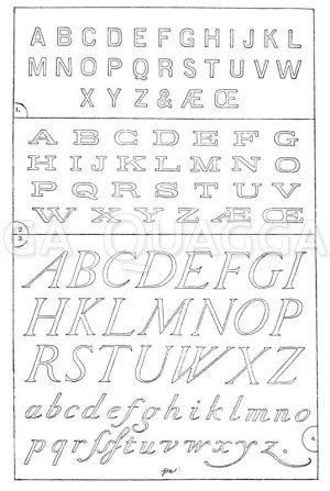 Lateinische Schriften: 1. Alphabet in sog. Blockschrift oder Grotesk