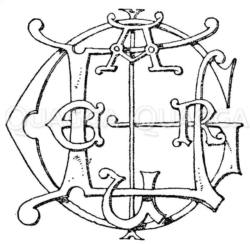 """Monogramm eines französischen Eigennamens. """"Laugier. (Raguenet) Zeichnung/Illustration"""