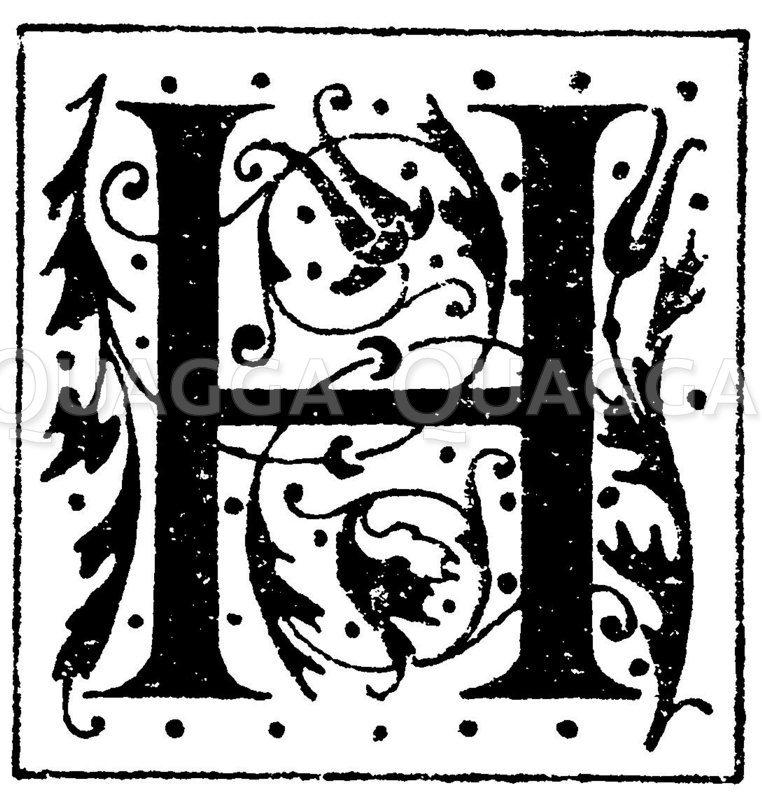 Lateinisches Initial: Buchstabe H. Initial aus einem Werk der Morel'schen Buchhandlung in Paris