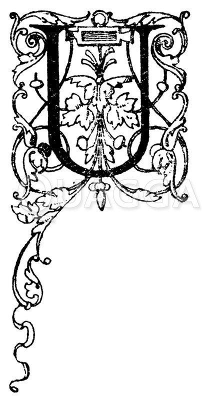 Lateinisches Initial: Buchstabe U. Initial aus einem Werk der Morel'schen Buchhandlung in Paris