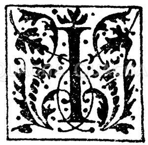 Lateinisches Initial: Buchstabe I. Initial aus einem Werk der Morel'schen Buchhandlung in Paris