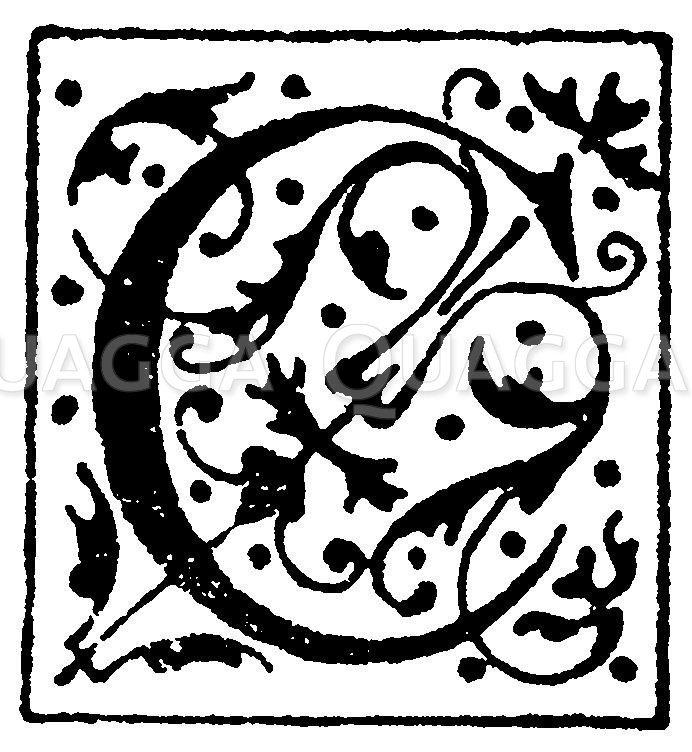 Lateinisches Initial: Buchstabe C. Initial aus einem Werk der Morel'schen Buchhandlung in Paris