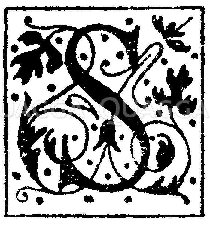 Lateinisches Initial: Buchstabe S. Initial aus einem Werk der Morel'schen Buchhandlung in Paris