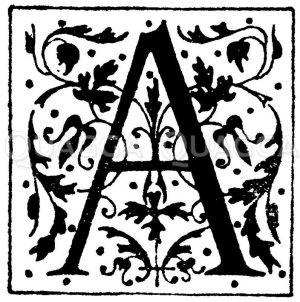 Lateinisches Initial: Buchstabe A. Initial aus einem Werk der Morel'schen Buchhandlung in Paris