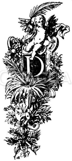Lateinisches Initial: Buchstabe D. Initial aus dem Prospekt einer französischen Buchhandlung