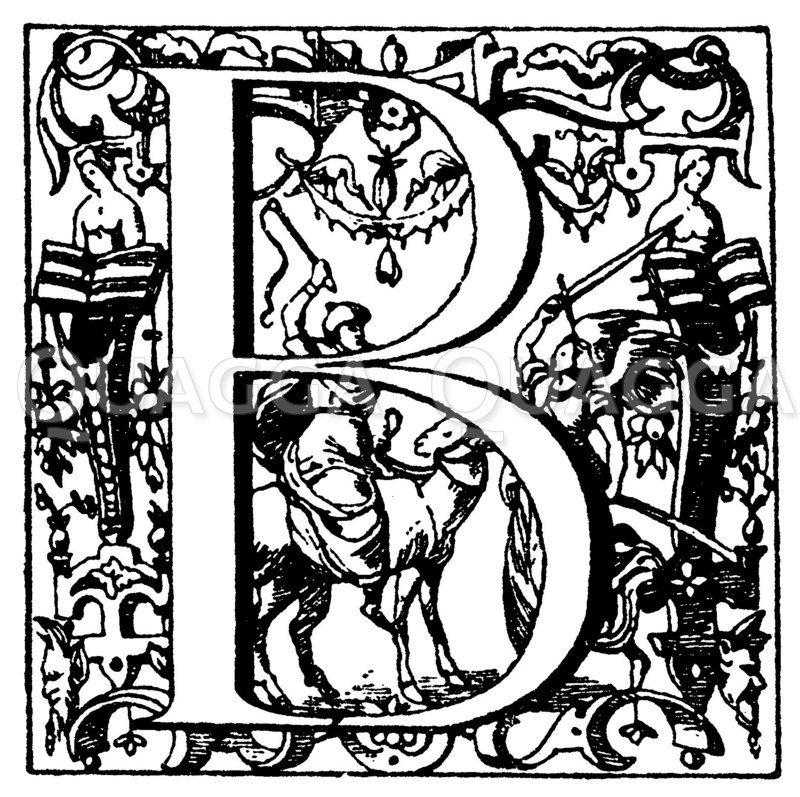 Lateinisches Initial: Buchstabe B. Renaissanceinitial aus dem 17. Jahrhundert. Plantinische Offizin in Antwerpen. (Ysendyck) Zeichnung/Illustration