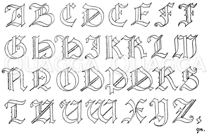 Gotisches Alphabet in Frakturschrift aus dem Jahre 1467. (Hrachowina) Zeichnung/Illustration