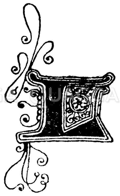 Gotische Unzialschrift: Buchstabe L. Initial aus dem 15. Jahrhundert. (Hrachowina) Zeichnung/Illustration