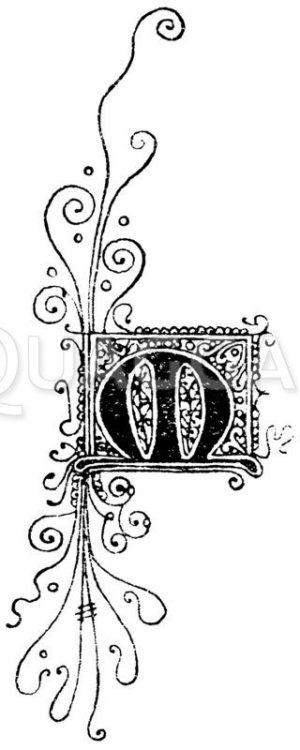 Gotische Unzialschrift: Buchstabe M. Initial aus dem 15. Jahrhundert. (Hrachowina) Zeichnung/Illustration