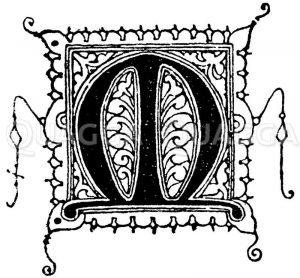 Gotische Unzialschrift: Buchstabe M. Initial aus dem 14. Jahrhundert. 1330. Zeichnung/Illustration