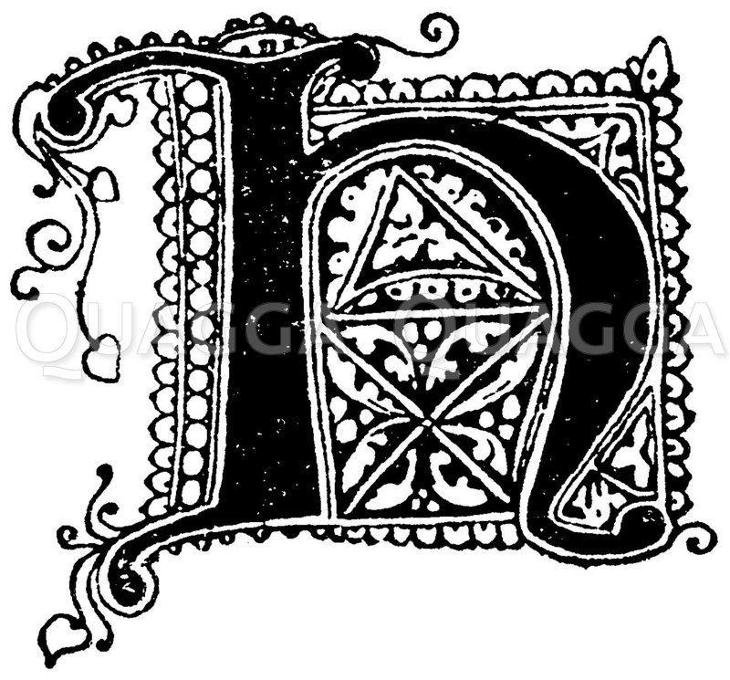 Gotische Unzialschrift: Buchstabe H. Initial aus dem 14. Jahrhundert. 1330. Zeichnung/Illustration