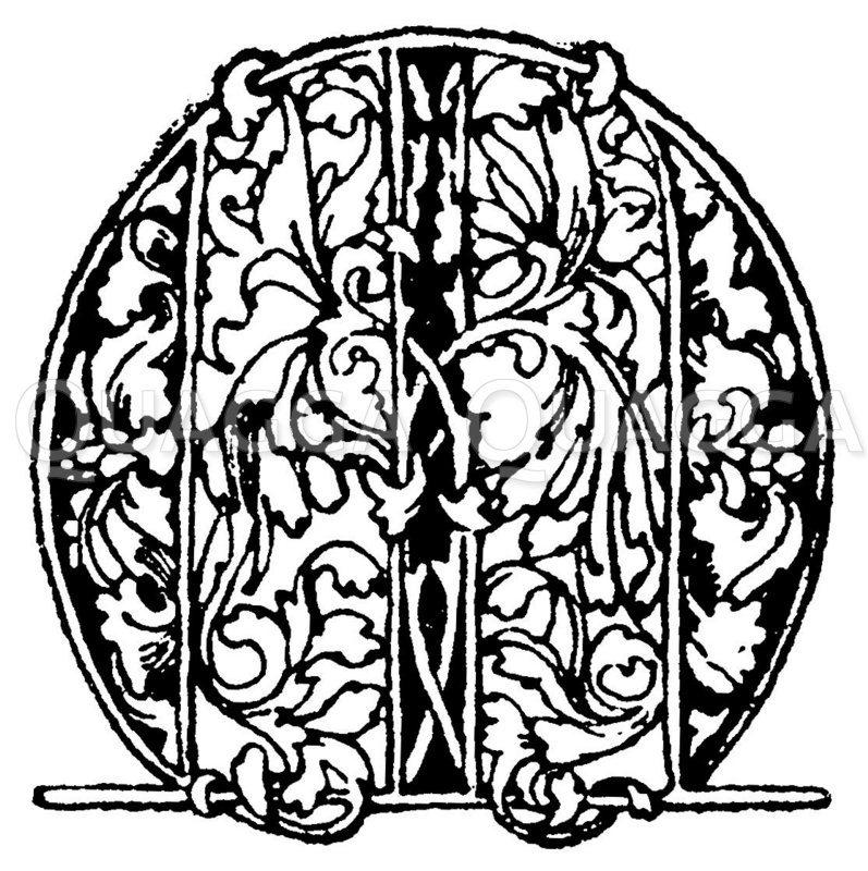Gotische Unzialschrift: Buchstabe O. Initial aus dem Ende des 15. Jahrhunderts. (Formenschatz) Zeichnung/Illustration