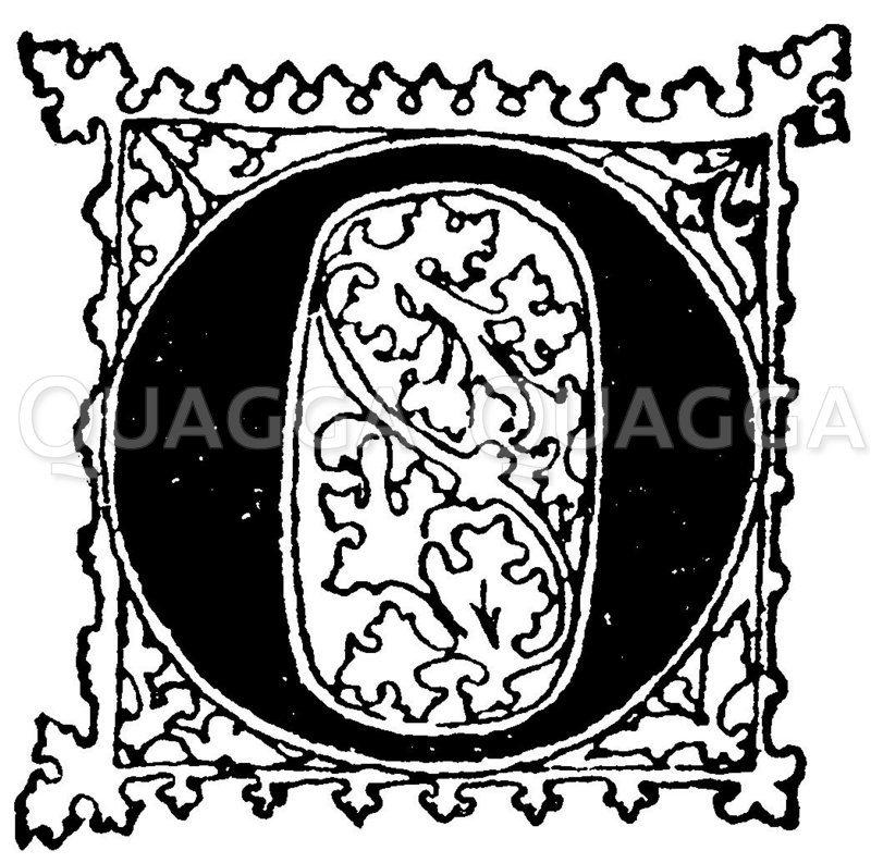 Gotische Unzialschrift: Buchstabe O Zeichnung/Illustration