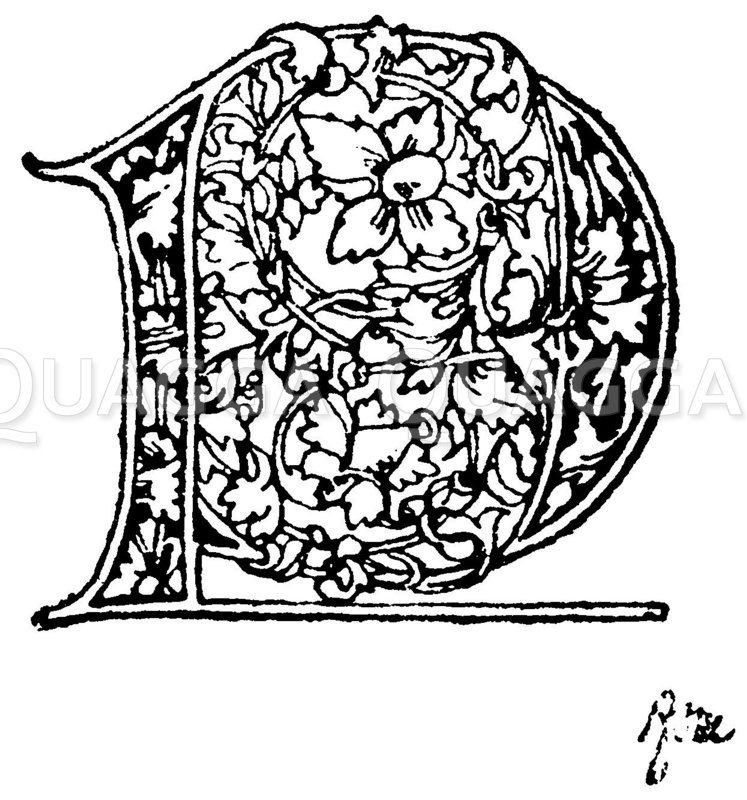 Gotische Unzialschrift: Buchstabe L. Initial aus dem Ende des 15. Jahrhunderts. (Formenschatz) Zeichnung/Illustration