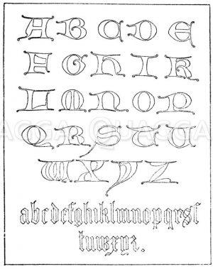 Gotische Unzialschrift: Alphabet aus dem 14. Jahrhundert. (John Weale) Zeichnung/Illustration