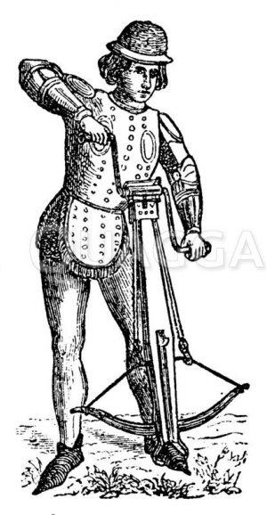 Mann mit Armbrust Zeichnung/Illustration