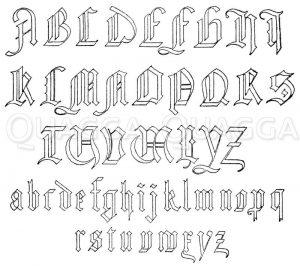 Gotisches Alphabet in Frakturschrift. (Das Alphabet ist nicht einheitlich