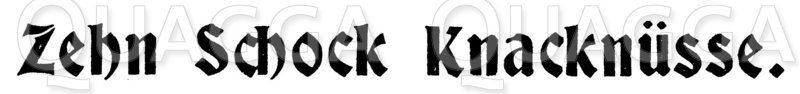Schriftzug 'Zehn Schock Knacknüsse' Zeichnung/Illustration
