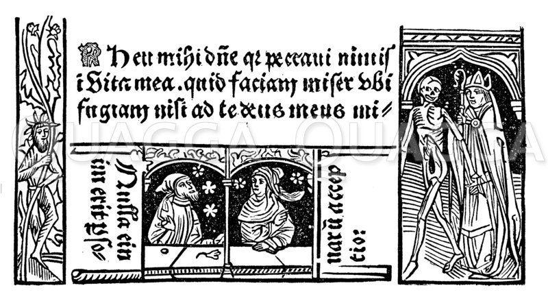 Aus einem lateinischen Beichtbuch von 1487 Zeichnung/Illustration