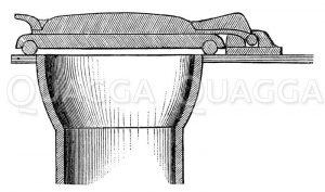 Latrine mit luftdichtem Deckelverschluss Zeichnung/Illustration