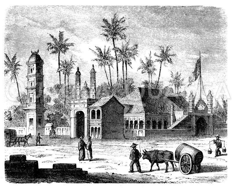 Moschee und Hindutempel in Singapur Zeichnung/Illustration