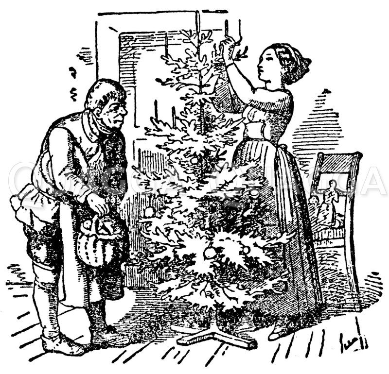 Schmücken des Weihnachtsbaums Zeichnung/Illustration