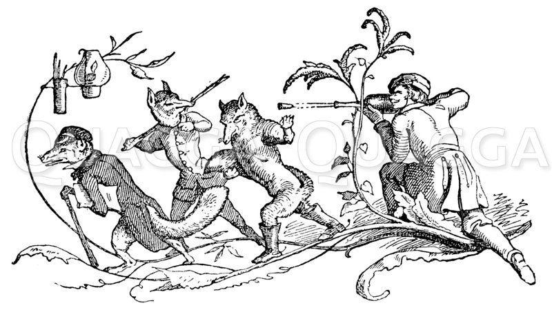 Jäger und vermenschlichte Füchse Zeichnung/Illustration