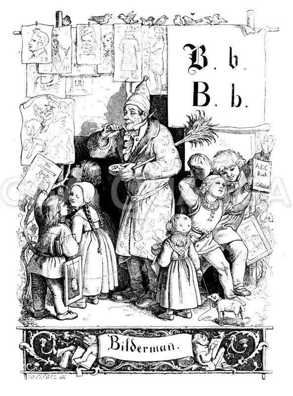 Bildermann. Bildverkäufer auf dem Markt Zeichnung/Illustration