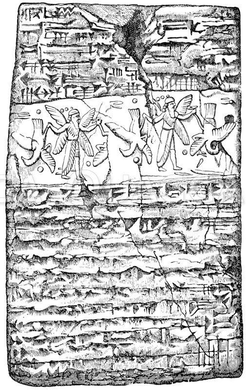 Beschriebenes Tontäfelchen mit dem Abdruck des gerollten Siegelzylinders Zeichnung/Illustration