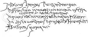 Ältere römische Kursive. Wachstafel aus dem Jahr 139 n. Chr. gefunden 1855 zu Berespatak in Siebenbürgen. Nach Arndt Zeichnung/Illustration