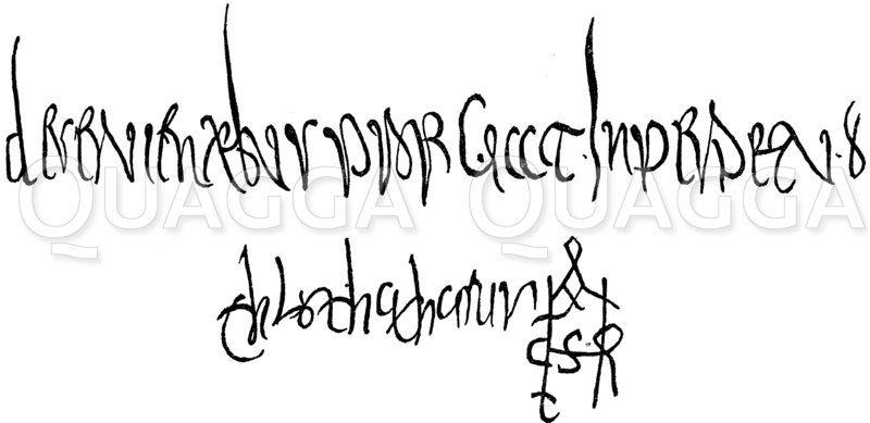 Unetrschrift des König Chlotars II. Zeichnung/Illustration