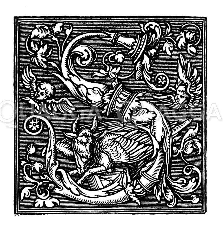 Buchstabe S mit Ungeheuer Zeichnung/Illustration
