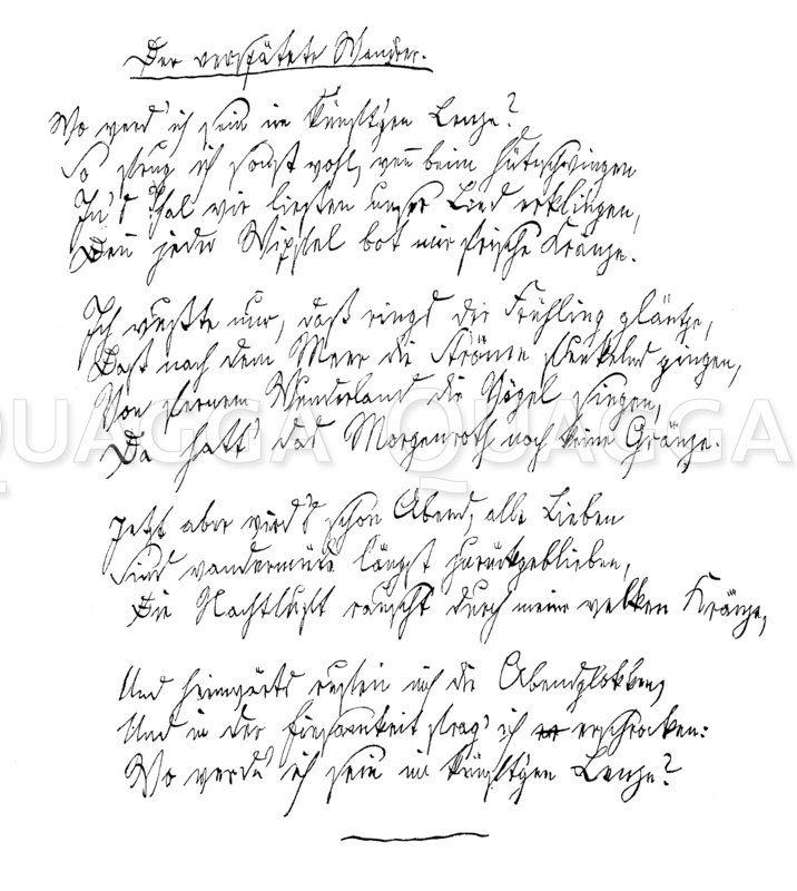 Autograph: Gedicht von Joseph Freiherr von Eichendorff Zeichnung/Illustration