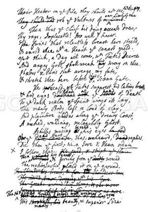 Seite aus Alexander Popes Übersetzung der 'Iliade' Zeichnung/Illustration