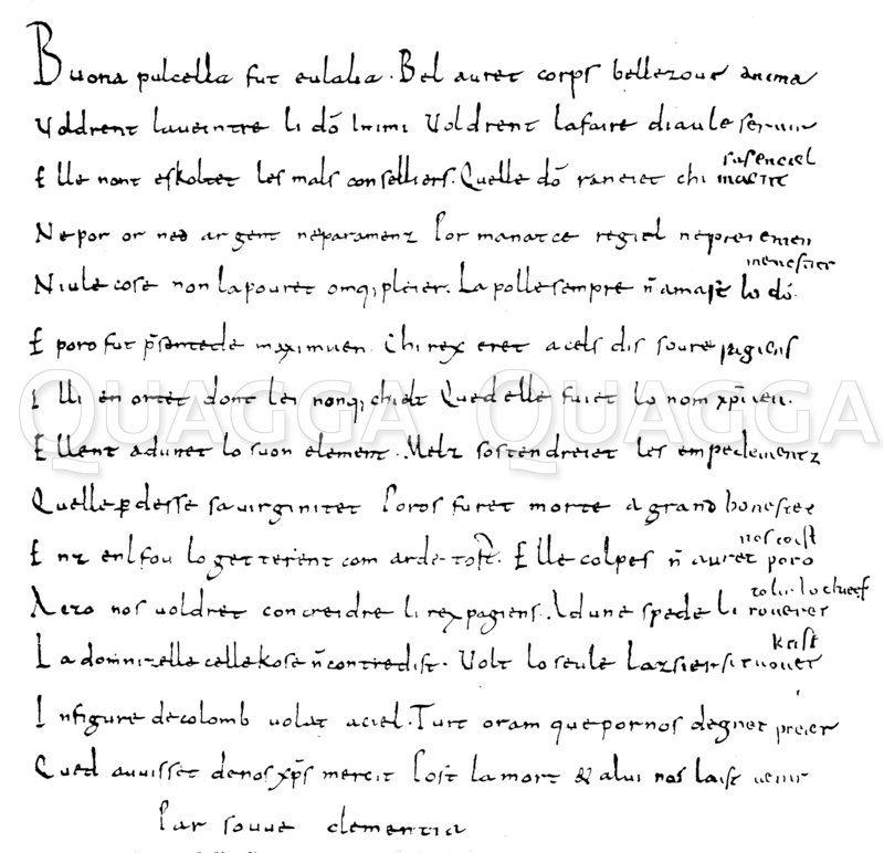 Französische Eulalia-Sequenz Zeichnung/Illustration