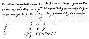 Schlusszeilen eines Briefes des Christoph Kolumbus an das katholische Königspaar Zeichnung/Illustration