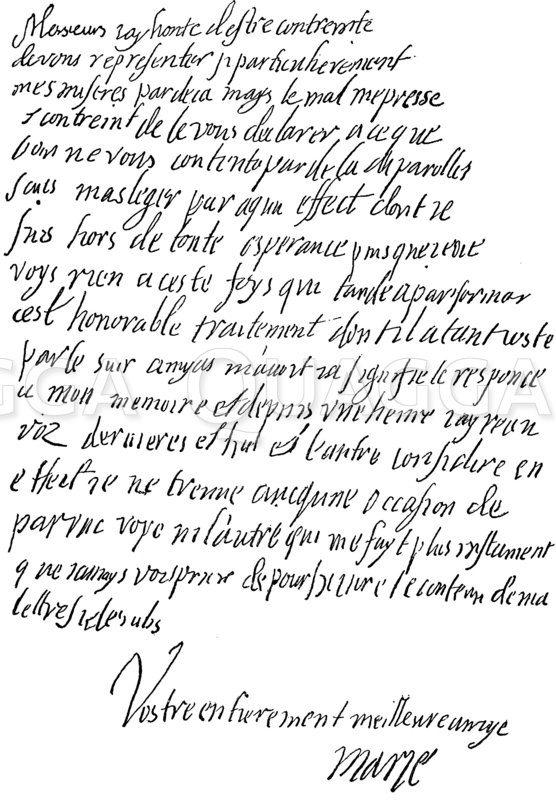 Faksimile der eigenhändigen Nachschrift Maria Stuarts zu einem Brief an den französischen Gesandten in England