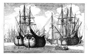Holländische Dickbäuche_ Handelsschiffe. Nach einer Radierung von Wenzel Hollar Zeichnung/Illustration