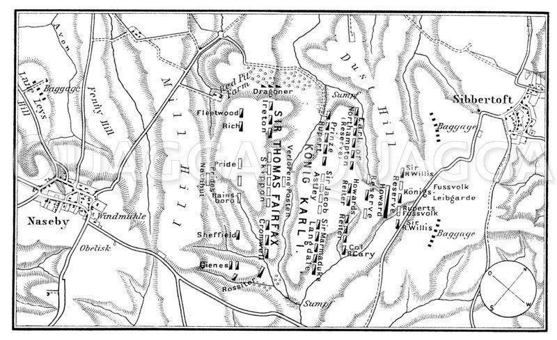 Plan der Schlacht bei Naseby Zeichnung/Illustration